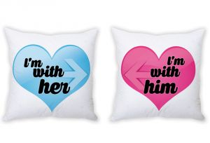 Stybuzz I AM With Her And I AM With Him Heart Couple Cushion Covers