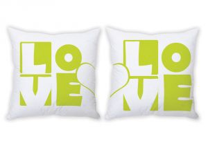 Stybuzz Love Heart Art Green Couple Cushion Covers