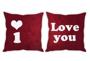 Stybuzz I Love You Red Couple Cushion Covers
