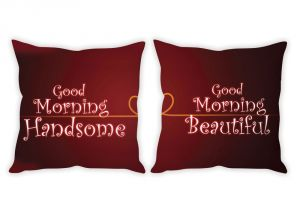 Stybuzz Good Morning Handsome And Beautiful Couple Cushion Covers