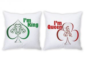 Stybuzz I AM King And I AM Queen Couple Cushion Covers