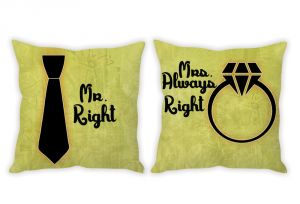 Stybuzz Mr. Right And Mrs. Always Right Green Couple Cushion Covers