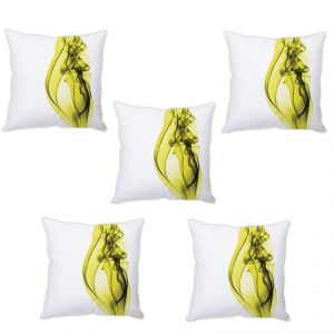 Stybuzz Green Abstract Art Cushion Cover- Set Of 5