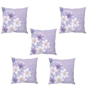 Stybuzz Mauve Floral Abstract Art Cushion Cover- Set Of 5