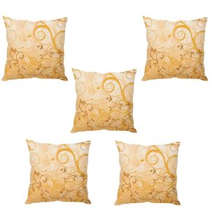 Stybuzz Cream Abstract Art Cushion Cover- Set Of 5