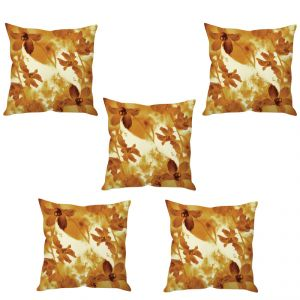 Stybuzz Beige Floral Art Cushion Cover- Set Of 5