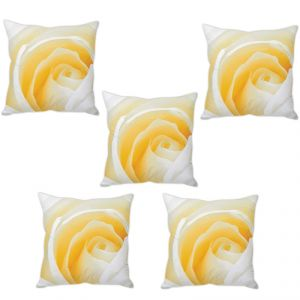 Stybuzz Cream Rose Cushion Cover- Set Of 5