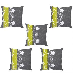 Stybuzz Grey Floral Art Cushion Cover- Set Of 5