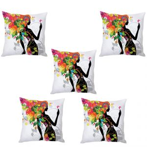 Stybuzz Floral Lady Cushion Cover- Set Of 5
