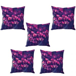 Stybuzz Pink Flowers Cushion Cover- Set Of 5
