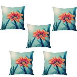 Stybuzz Orange Flower Cushion Cover- Set Of 5