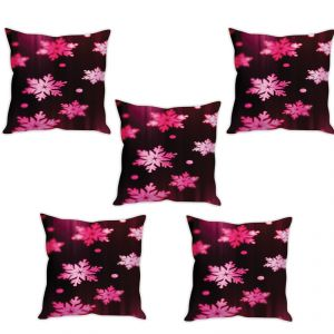 Stybuzz Pink Snowflakes Cushion Cover- Set Of 5