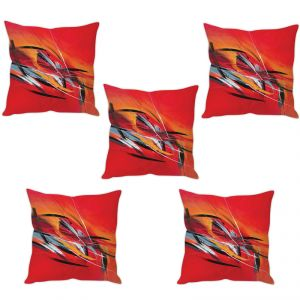 Stybuzz Red Abstract Art Cushion Cover- Set Of 5