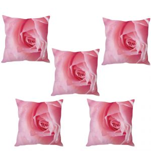Stybuzz Pink Rose Cushion Cover- Set Of 5