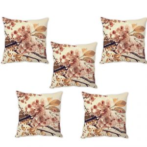 Stybuzz Beautiful Floral Art Cushion Cover- Set Of 5
