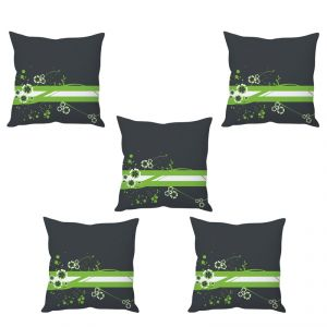 Stybuzz Green Floral Art Cushion Cover- Set Of 5
