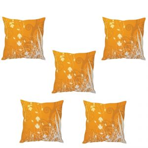 Stybuzz Orange Floral Art Cushion Cover- Set Of 5