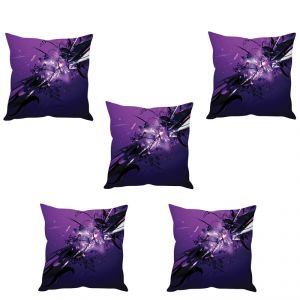 Stybuzz Purple Abstract Art Cushion Cover- Set Of 5