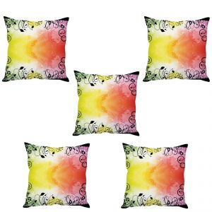 Stybuzz Colorful Abstract Art Cushion Cover- Set Of 5
