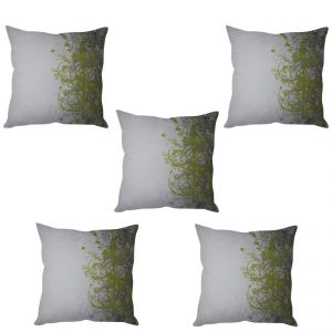 Stybuzz Green Vine Art Cushion Cover- Set Of 5