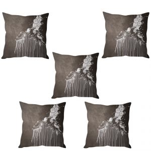 Stybuzz Grey Abstract Art Cushion Cover- Set Of 5