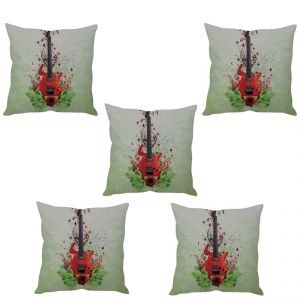 Stybuzz Artistic Guitar Cushion Cover- Set Of 5