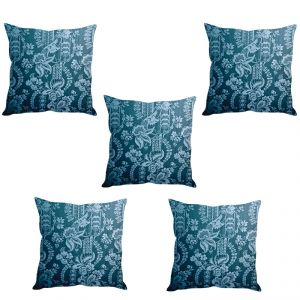 Stybuzz Blue Printed Art Cushion Cover- Set Of 5