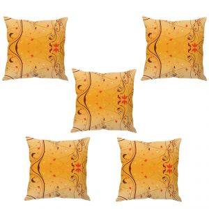 Stybuzz Peach Floral Art Cushion Cover- Set Of 5