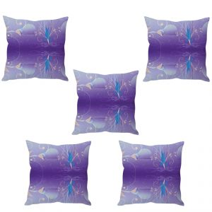 Stybuzz Violet Abstract Art Cushion Cover- Set Of 5