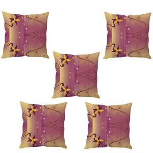 Stybuzz Pink Abstract Art Cushion Cover- Set Of 5