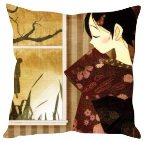 Stybuzz Girl At The Window Beige Cushion Cover