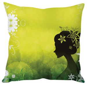 Stybuzz Elegant Woman Art Green Cushion Cover
