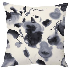 Stybuzz Black And White Floral Art Black Cushion Cover
