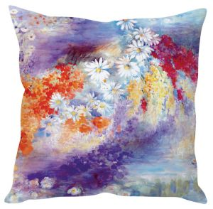 Stybuzz Beaitiful Floral Painting Blue Cushion Cover