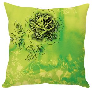 Stybuzz Green Floral Print Green Cushion Cover