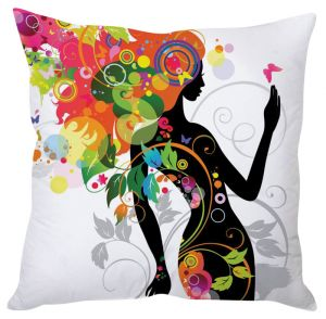Stybuzz Floral Lady White Cushion Cover