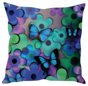 Stybuzz Floral Butterfly Blue Cushion Cover