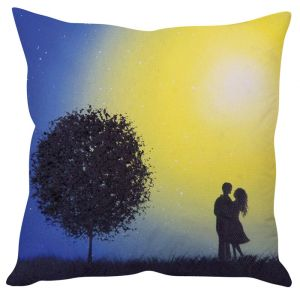 Stybuzz Midnight Couple Yellow Cushion Cover