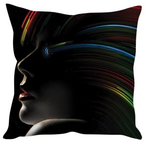Stybuzz Girl Abstract Art Black Cushion Cover