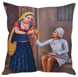 Stybuzz Traditional Village Art Multicolor Cushion Cover
