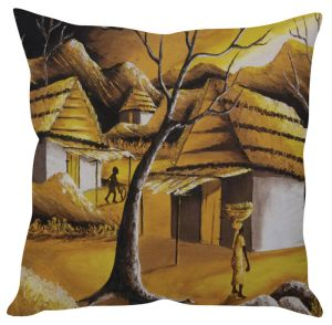 Stybuzz Village Art Brown Cushion Cover