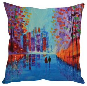 Stybuzz Couple Painting Art Blue Cushion Cover
