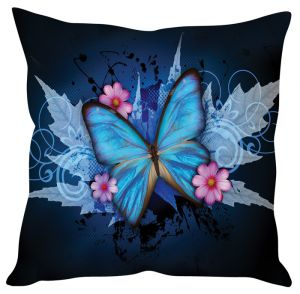 Stybuzz Butterfly Abstract Art Blue Cushion Cover