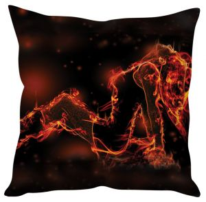 Stybuzz Girl Fire Abstract Black Cushion Cover