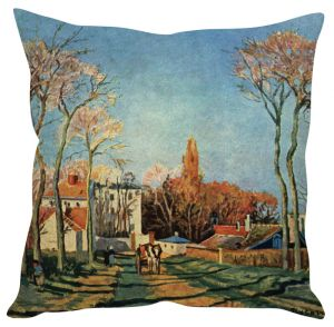 Stybuzz Village Art Blue Cushion Cover