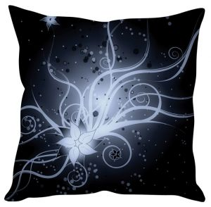 Stybuzz Black Floral Abstract Art Black Cushion Cover