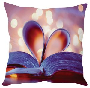 Stybuzz Heart In Book Pink Cushion Cover