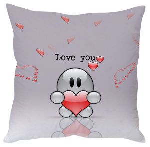 Stybuzz Love You Toon White Cushion Cover