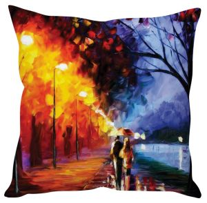 Stybuzz Couple Walking In Rain Painting Art Orange Cushion Cover