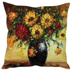 Stybuzz Floral Painting Art Yellow Cushion Cover